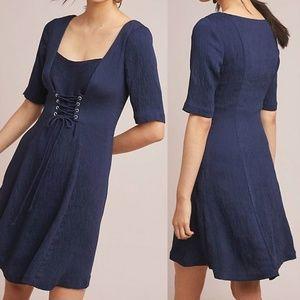 Anthropologie JULIET CORSETED DRESS Navy Blue Sz 0